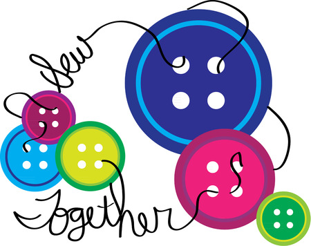 sewing box: Buttons in every color are standard to any well stocked sewing box.  Illustration
