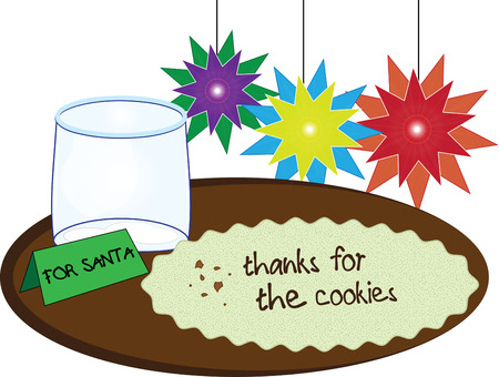 milk and cookies: Apparently Santa has been here - all his treats have been enjoyed!  Festive star decorations add holiday cheer to this tray of milk and cookies.