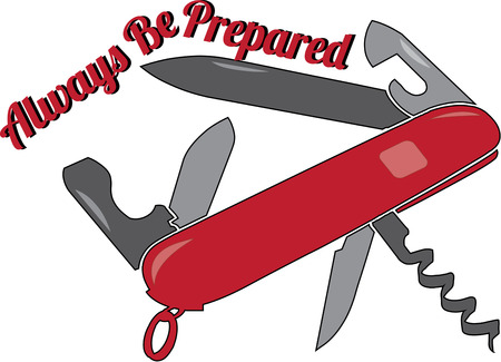 can opener:  Army Knife is a perfect way to decorate a camping bag Illustration