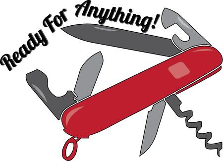 ouvre boite: Army Knife est un moyen id�al pour d�corer un sac de camping Illustration