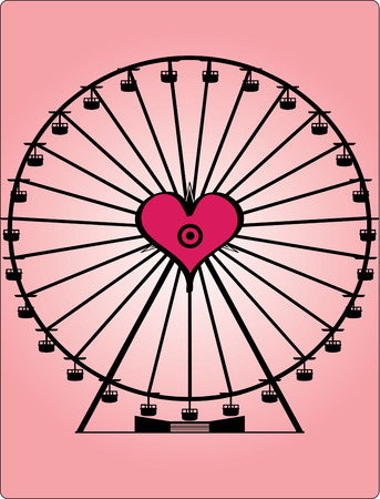 observing: Go round and round with your sweetheart on this love centered Ferris wheel  Illustration