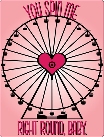 sweetheart: Go round and round with your sweetheart on this love centered Ferris wheel  Illustration
