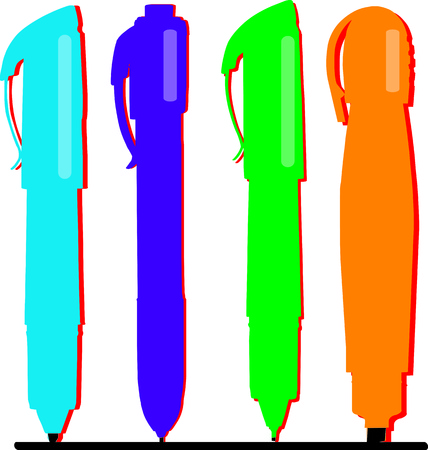 rollerball: Colorful pens make the artists work easier and brighter.   Illustration