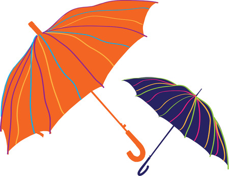 brolly: Be ready for spring showers with beautiful umbrellas in bright colors.  These umbrellas are just amazing as a decoration for raingear Illustration