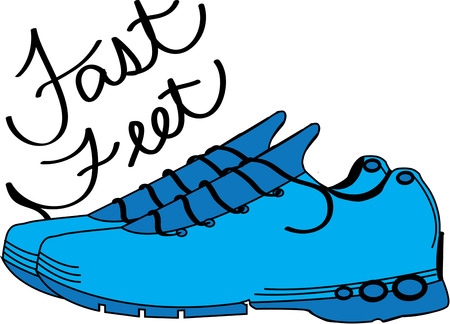 accomplish: With the right pair of athletic shoes, you can accomplish amazing things.  These blue shoes are just the thing to decorate a bag for your running gear