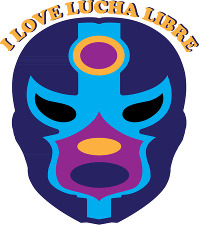 by virtue: Virtue has a veil  vice a mask. This colorful Luchia Libre mask is the perfect embellishment for any wrestler