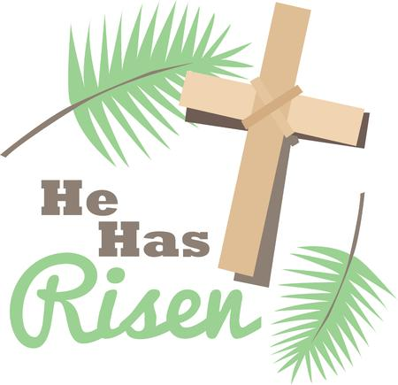 christ is risen easter: Make a beautiful project for Palm Sunday. Illustration