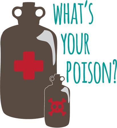 poison bottle: Danger in a bottle.  Poison identified by the skull and cross-bone symbol is a signal to take caution!  Add this design to a warning or notice.