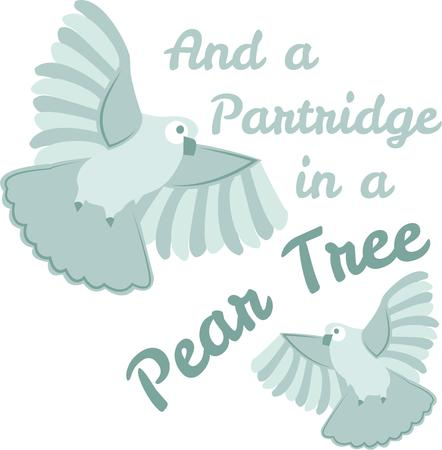 Decorate a Christmas tree skirt with lovely flying partridges. Vector