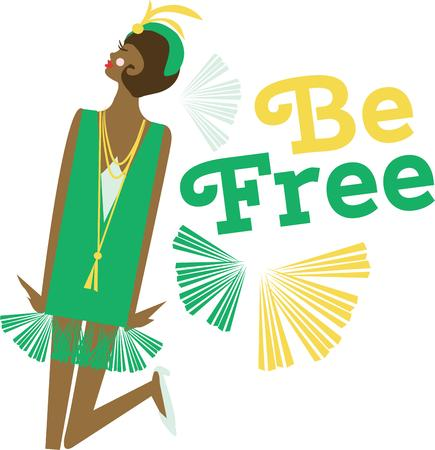 have fun: Have fun with a flapper to dance with. Illustration