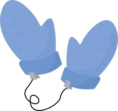 muff: Keep warm in winter with a pair of wolly mittens. Illustration