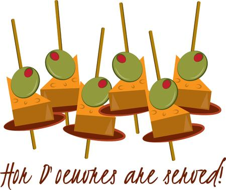 little finger: What a party without doeuvres?  These little finger foods are a lovely graphic for a party invitation.