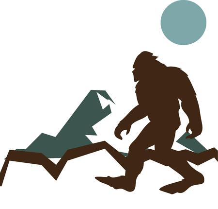 big foot: Wondering if Big Foot is real  Here is the evidence in this silhouette design.  Fun for kid jackets and backpacks. Illustration