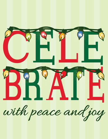 seguir adelante: Traiga imaginaci�n para la temporada con luces colgados en esta invitaci�n art�stica para celebrar. Adelante crear su propia tarjeta especial de Navidad Vectores