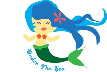 plumeria flower: Our pretty little mermaid is a perfect choice to create bathroom decor for a little one.  We love her flowing hair with the tiny plumeria flower. Illustration