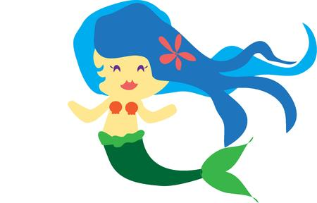 ���little one���: Our pretty little mermaid is a perfect choice to create bathroom decor for a little one.  We love her flowing hair with the tiny plumeria flower. Illustration