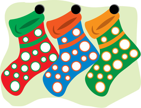 stuffer: These fun and colorful stockings are hung by the chimney waiting for Santas visit.  Imagine these polka dot socks stitched in groups on a super fun tree skirt
