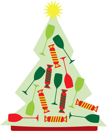 tannenbaum: Celebrate in special holiday style with our Christmas tree filled with party cheer.  Use this fun design to create something memorable for your party guests.