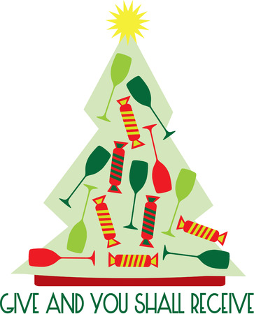 guests: Celebrate in special holiday style with our Christmas tree filled with party cheer.  Use this fun design to create something memorable for your party guests.