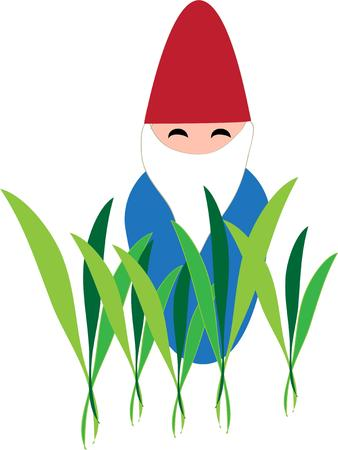 tall grass: This little garden gnome is hiding out in tall grass adding a touch of fun to your garden.  He is great on a garden flag. Illustration
