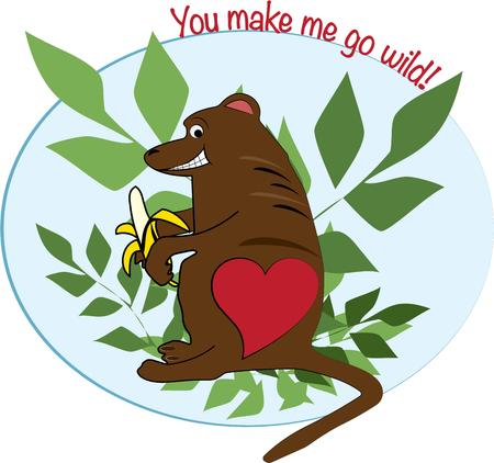 pal: Our heart decorated monkey pal is taking a time out for a snack.  This is a precious design for kids wear or decorations in a nursery.