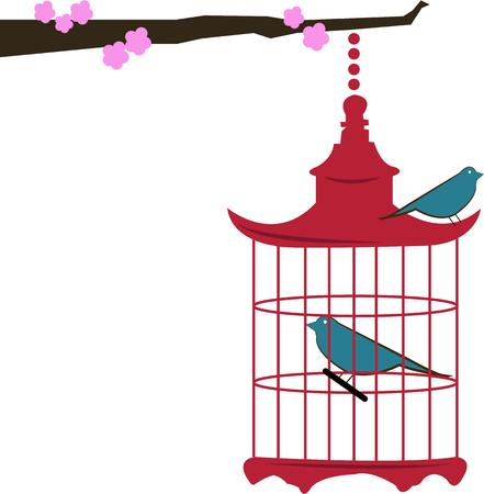 flair: A limb of elegant cherry blossoms holds a decorative birdcage.  The lovely Asian flair make this the perfect choice for throw pillows or any decor item