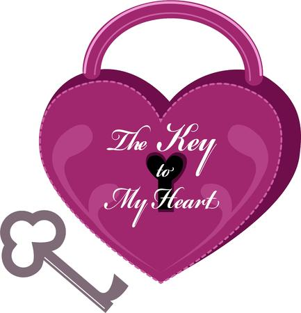 sentiment: Here is the key that fits the lock of everybodys heart.  What a fitting Valentine sentiment. Illustration