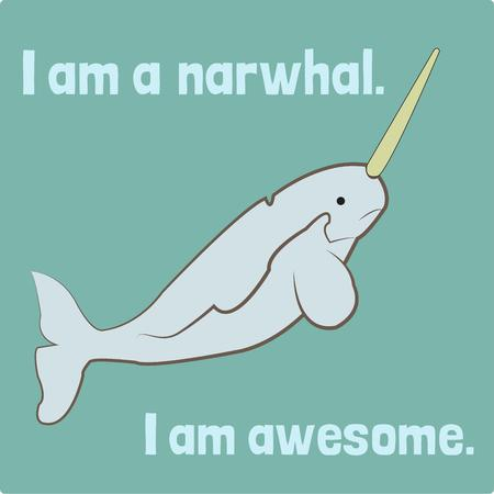 protruding: Unicorns of the sea narwhals are strange and beautiful creatures with long tusks protruding from their heads.  Add their unusual charm to pool side gear. Illustration