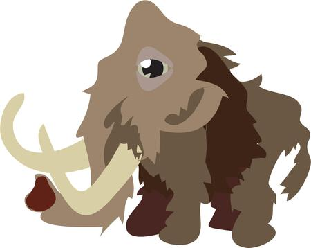 pachyderm: The wooly mammoth is back in this artistic design.  This massive creature with his long horns is a perfect decoration for kids clothes or room decor Illustration