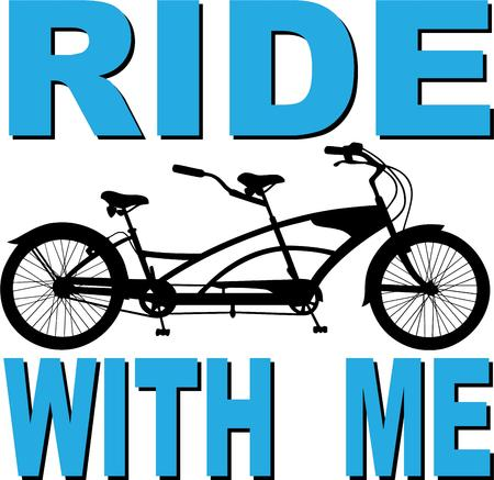 sociable: Abikewith two riders side by side is a sociable way to exercise and explore.  Great to decorate a bike bag or a shirt for your bike club.