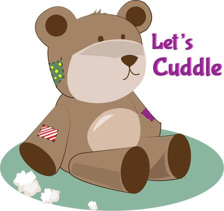 well loved: A well loved teddy is a treasured toy for children everywhere.  He is especially cute for kid sleepwear.