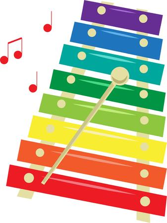 sounds: Create some colorful music with this xylophone.  Add these happy sounds to kids wear or a special musical case.  Create a rainbow of music Illustration