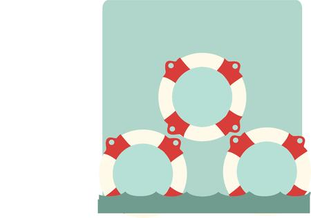 life jackets: A pyramid of life vests make an interesting collage in this nautical design.  Use to embellish pillows for your boat or jackets for the crew