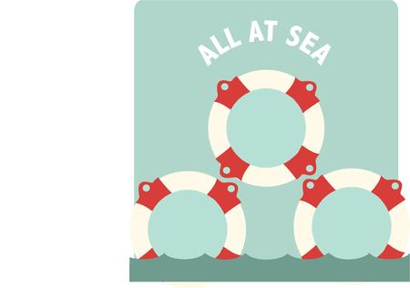 flotation: A pyramid of life vests make an interesting collage in this nautical design.  Use to embellish pillows for your boat or jackets for the crew