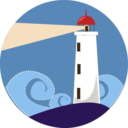 coastline: This stately lighthouse illuminates the way through the ocean waves.  What a lovely and trendy design for bath decor.