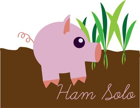 cutie: Our simplistic pink pig is a real cutie.  He makes a super decoration for kids wear and room decor with a farm theme. Illustration