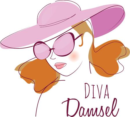 damsel: Show your fashion style with an elegant lady. Illustration