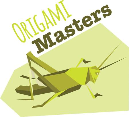 locust: Use this origami cricket for you bug project. Illustration