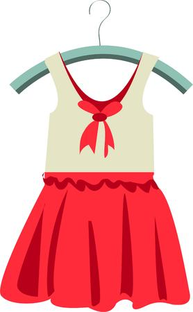 hamper: Heres a super cute little dress for your little princess.  Add this cute design to a dress bag or a laundry hamper for the cutest effect ever Illustration