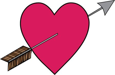 timeless: The timeless symbol of love  Cupids arrow through a heart.  Makes a perfect decoration for Valentines you give or Valentines you wear Illustration