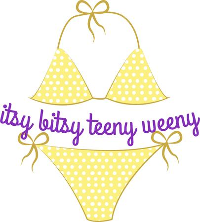 two piece bathing suit: A little bitty tiny weenie yellow polka dot bikini  Decorate your swim bag in special style.