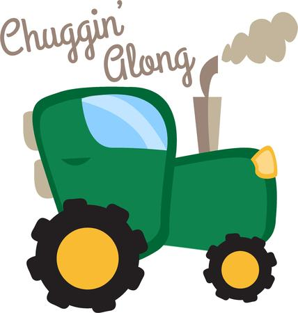 john: Take a ride on big green tractor.  Perfect for little boys to add a touch of the farm to their room. Illustration