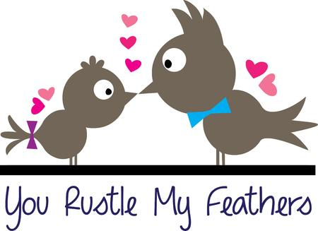 special effect: Love and kisses shared by some of the cutest birds ever  We love the silhouette style birds with splashes of color with the bows and hearts.  Add this special effect to shirts or jackets
