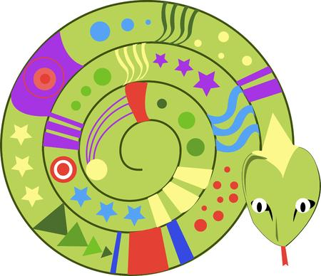 coiled: While he may be ready to strike this colorful snake is the prettiest ever.  Check out all the shapes colors and designs  He is a perfect decoration