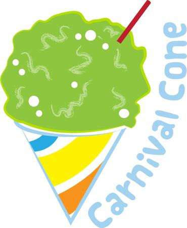 snow cone: This frosty snow cone is the perfect cooling off treat for summer play.  Add this design to a polo shirt to make it into a super cool shirt