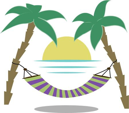regenerate: There is no better place to relax and regenerate than a sunny tropical beach.  We have found just that place.  It is a perfect decoration for vacation gear or travel companies Illustration