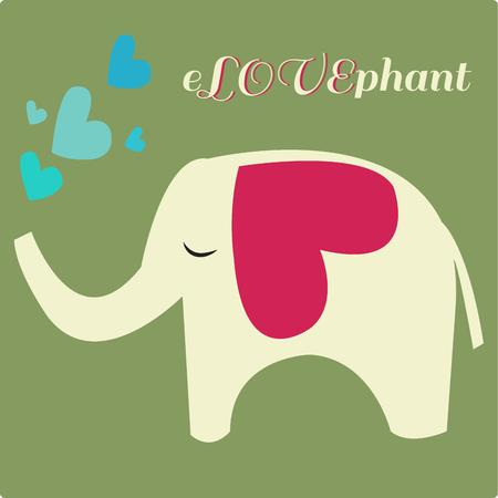 cuteness: Sending love and heart felt wishes our sweet elephant is just what you need to add that special touch of cuteness  We adore her on kids wear and nursery bags. Illustration