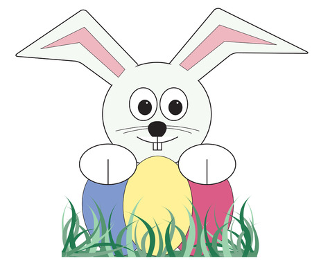 hes: The Easter Bunny has arrived with brightly colored eggs hiding in your lawn.  Hes a perfect springtime artistic companion. Illustration