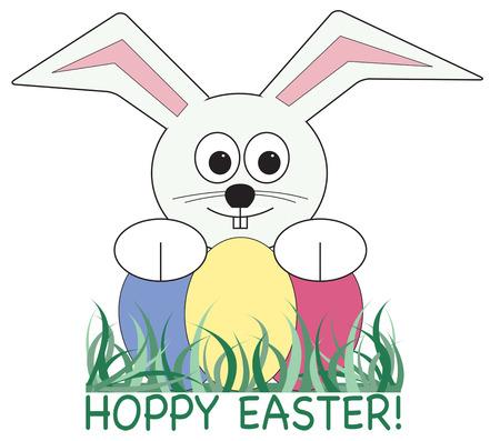 cottontail: El Conejo de Pascua ha llegado con huevos de colores brillantes que oculta en su c�sped. �l es un compa�ero art�stico primavera perfecta. Vectores