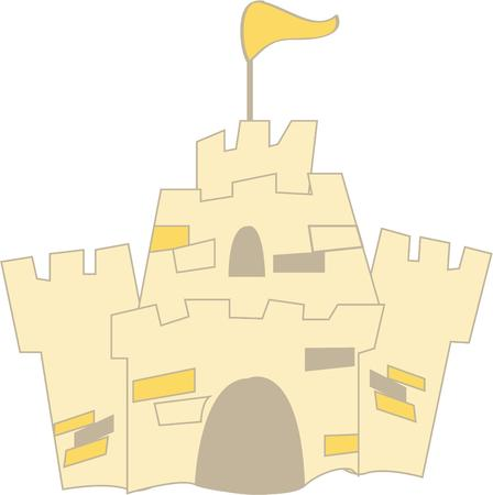 architect tools: Honor the work of the little architect with this sand castle.  Decorate a bag to hold your beach castle building tools